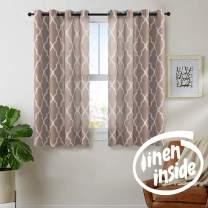 "jinchan Linen Curtains Flax Linen Blend Textured Curtain Moroccan Tile Print Window Curtain Drapes Set for Living Room Lattice Quatrefoil 50"" W x 54"" L Taupe 2 Panels"