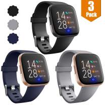 Maledan Compatible with Fitbit Versa Watch/Versa Lite SE/Fitbit Versa 2 Bands for Women Men, Small, 3 Packs Black/Blue/Gray