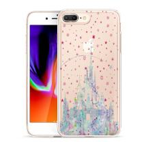 Unov Compatible Case Clear with Design Embossed Pattern TPU Soft Bumper Shock Absorption Slim Protective Case for iPhone 7 Plus iPhone 8 Plus 5.5 Inch(Watercolor Castle)