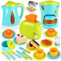 LiDi RC 33 Pack Assorted Kitchen Appliance Toys with Coffee Maker Machine, Kettle, Toaster, Utensils and Foods Cooking Set Play Kitchen Accessories for Toddlers 3 4 5 6 7 8 Years Old
