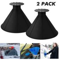 UNIHAO Round Windshield Ice Scrapers, Magic Cone-Shaped Car Windshield Ice Scraper, Snow Removal Shovel Tool Ice Cleaner Remover Tool Window Glass Wiper Auto Funnel for Car, 2 Pack, Black