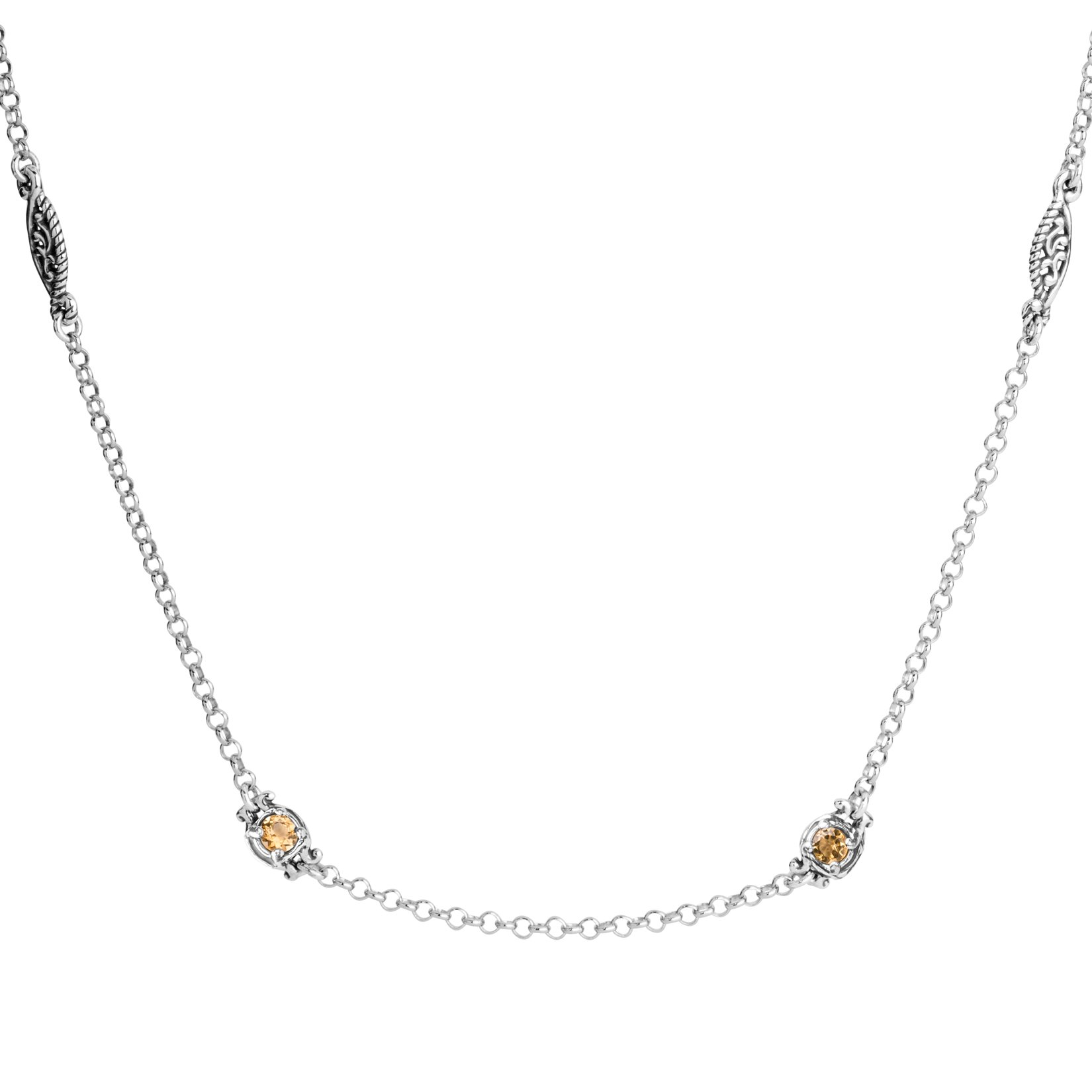 Carolyn Pollack Sterling Silver & Gemstone Stations Necklace 24 Inch Choice of 6 Colors