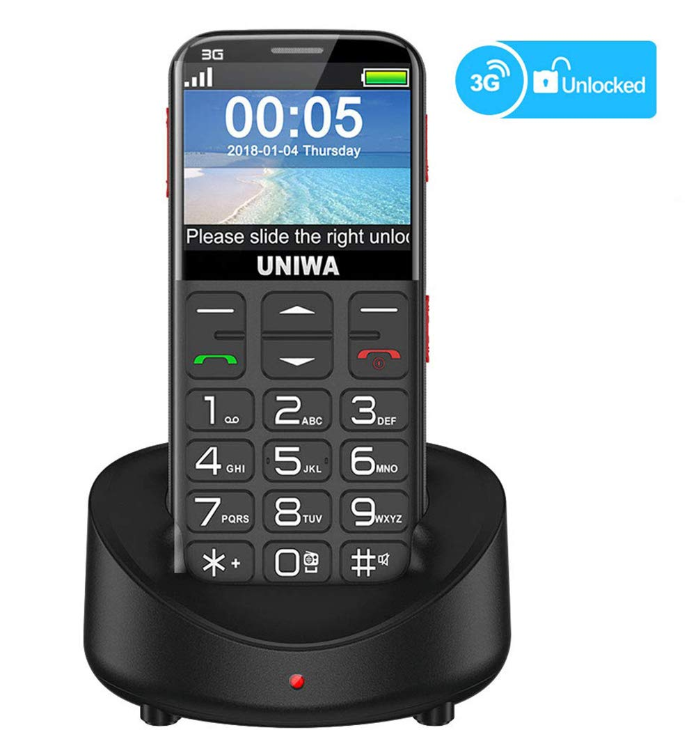 """UNIWA Unlocked Cell Phone 3G Senior Cell Phone WCDMA GSM Cell Phone for Elderly People, 2.31"""" Curved Screen Embossed Keyboard Big Button Big Font SOS Emergency Simple Phone with Charging Dock (Black)"""