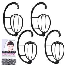 fani 4 Pack Wig Stand Wig Hanger Portable Hanging Wig Stand for Wig Hat Cap Holder Collapsible Wig Dryer with a Wig Cap