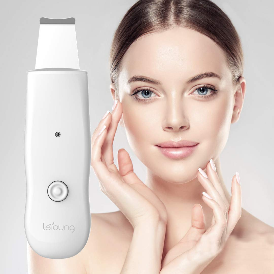 Leyoung Facial Skin Scrubber, Blackhead Remover, Scraper Acne & Pore Cleaner, Facial Cleaning Brush Handheld Portable Beauty Device for Remove Dead Skin, Valentine's Day Gift for Her Galentine's Gift