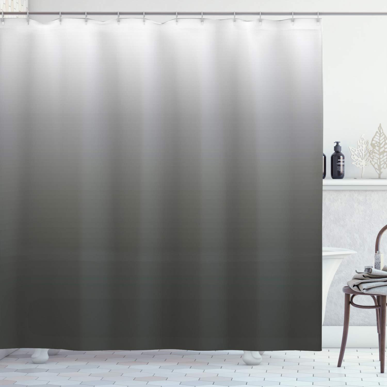 "Ambesonne Ombre Shower Curtain, Smoke Fog Futuristic Inspiration Grey Colored Modern Style Design Print, Cloth Fabric Bathroom Decor Set with Hooks, 84"" Long Extra, Dark Green"