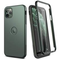 "SURITCH Case for iPhone 11 Pro Max,【Built in Screen Protector】【Support Wireless Charging】 Soft TPU Hybrid Bumper Full Body Protection Rugged Shockproof for iPhone 11 Pro Max Cover 6.5""(Dark Green)"