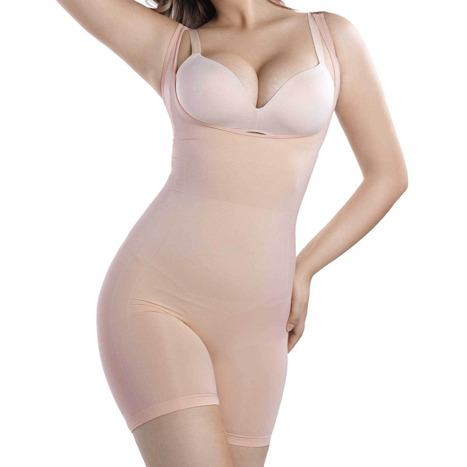 +MD Women Seamless Target Firm Tummy Control Shapewear Bodysuit Open Bust Mid-Thigh Full Body Shaper for Dresses