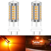 KATUR 2pcs 3157 3047 3057 3155 5630 33-SMD Amber 900 Lumens Super Bright LED Turn Tail Brake Stop Signal Light Lamp Bulb 12V 3.6W