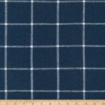 Robert Kaufman Essex Yarn Dyed Classic Wovens Linen Check Fabric, Indigo, Fabric By The Yard