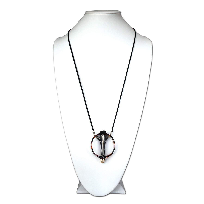 Maria Foldable Round Tortoise Shell Black Cord, Neckglasses Pendant, Reading Glasses, Convenient, Superior Chain, Discreet, Easy Care - 2.5 - Tortoise Shell