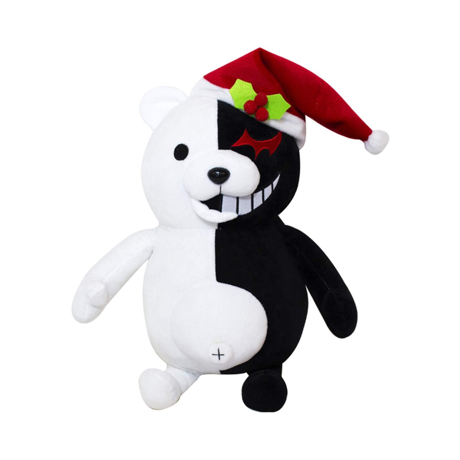 TIMSOPHIA Boys Black White Bear Plush Doll Monokuma Bear 36cm for Girls Birthday Child Pillow Toy Home Decor Adornment (Christmas Hat, 36cm)