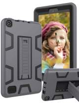 TOPSKY Case Amazon Kindle Fire 7 Case 7th Generation 2017 Release,[Kickstand Feature] Heavy Duty Rugged Shockproof Kids Proof Hybrid Protective Cover Case for Fire 7 7th Generation,Grey Black