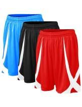 TOPTIE 3 Pack Men's Basketball Shorts, Flag Football Shorts No Pockets, MMA Pro Shorts
