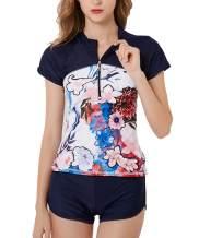 Bonvince Women's Two Piece Short Sleeve Rash Guard UV Protection Printed Surfing Swimsuit Swimwear Bathing Suit