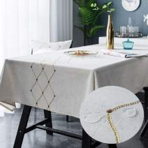 Bringsine Embroidery Geometric Diamond Tablecloth Heavy Weight Cotton Linen Fabric Dust-Proof Water-Proof Table Cloth Cover for Kitchen Dinning Tabletop Decoration (Square, 53 x 53 Inch, Linen)
