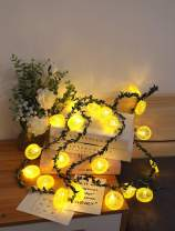 Fruit Lemon Slice String Lights LED Flashing String Battery Powered Indoor Outdoor Lighting Lamp for Wedding Home Birthday Garden Yard Patio Party Christmas Decorations (6.6ft/20 LED, Lemon slices-B)