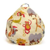 """YuppieLife Extra Large Stuffed Animals Bean Bag Chair Cover-Toy Organizer for Kids Child stuff'n Sit-Clean up The Room- organizing Everything-Premium Cotton Canvas(38""""Zoo"""