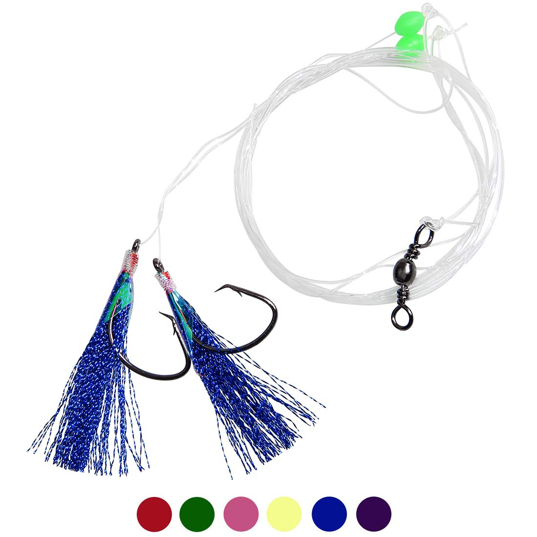 OROOTL Fishing Rigs Flasher Lure Rigs Saltwater, 6pcs Fishing Bait Rigs with Glow Fishing Beads High Carbon Steel Hook Metallic Flasher Mono Line Freshwater Saltwater Bait Rig Tackle
