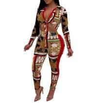 Uni Clau Women's Sexy Two Piece Jumpsuit Leopard Long Sleeve Crop Top Bodycon Pant Set Outfit