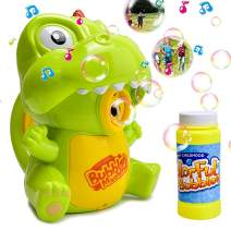 AINOLWAY Dinosaur Bubble Machine Toys for Kids, Automatic Bubble Blower for Party Wedding Birthday with 120ml Bubble Solution (Green)