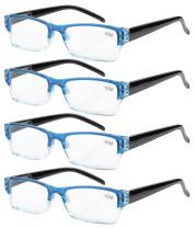 Eyekepper Reading Glasses-4 Pack Blue-Clear Frame for Women Men Reading,Two-Tone +1.75 Reader Eyeglasses