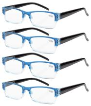 Eyekepper Reading Glasses-4 Pack Blue-Clear Frame for Women Men Reading,Two-Tone +2.50 Reader Eyeglasses