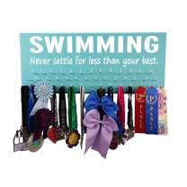 RunningontheWall Swimming Medal Display, Swimming Gifts for Teens Swimming. Never Settle for Less Than Your Best. Swimmer Medal Holder, Swimming Ribbon Holder