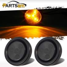 Partsam 2Pcs 2 Inch Round Amber Led Side Marker Lights 4 LED Smoke Lens Trailer Truck Lights Submersible with Grommet and Pigtails 12V, Sealed 2 Round Led Marker Lights Trailer Lights