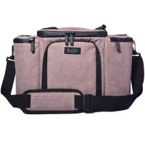"""Insulated Lunch Bag Large 16.5""""x 11.5""""x 8.5"""" Thermal Cooler Bag Leakproof Waterproof Lunch Box Outdoor Travel Picnic Tote Bag Men Women with Adjustable Shoulder Strap by FUAOJIA (pink)"""