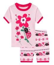 Girls Pajamas Short Sleeve 100% Cotton Toddler Girls Pjs Summer Clothes Sleepwear Sets Size 2 to 10 Years