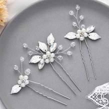 Asooll Bride Wedding Hair Pin Silver Flower Bridal Head Clip Rhinestone Crystal Headpiece for Women and Girls
