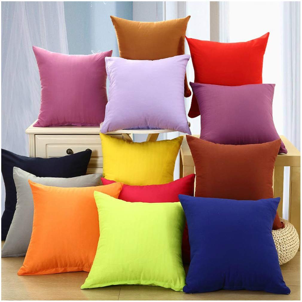 Coliang 2019 Candy Solid Color Throw Pillow Case Fashion Cushion Sofa Bed Office Spandex Supersoft Back Cushion Two Sides Pillow Cover 16x16 Inch (40x40CM) - Cream White