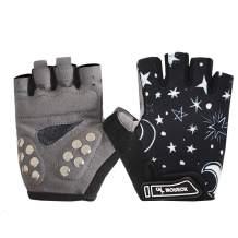 BIKINGMOREOK Kids Cycling Gloves,Kids Roller Skate Gloves Outdoor Sport Road Mountain Bike Gloves,Stainless Staples Gel Padding Bicycle Gloves for Boys Girls 3-12 Age