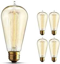 BULBMASTER 60 Watts Vintage Style Incandescent Edison Style Light Bulb 60W Classic Squirrel Cage Old Fashioned Filament Lamp Tear Drop Top E26 Base (Clear-ST58, 4 Pack)