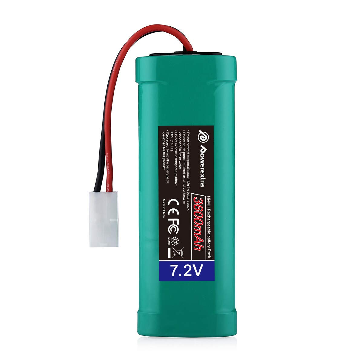 Powerextra 7.2V 3600mAh High Capacity Rechargeable 6-Cell NiMH Battery Pack Low-self Discharge with Standard Tamiya Connectors Compatiable RC Cars, RC Truck, RC Airplane, RC Helicopter, RC Boat