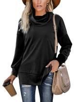 Damissly Women's Long Sleeve Velvet Cowl Neck Pullover Sweatshirt Side Split Tunic Top for Leggings