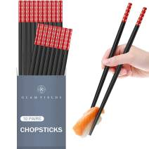 10 Pairs Fiberglass Alloy Chopsticks, GLAMFIELDS Reusable Japanese Chinese Korean Chop sticks, Non-slip, 9 1/2 inches