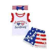 4th of July Toddler Baby Girl Outfit Sleeveless T-Shirt Top American Flag Tassel Shorts with Headband Summer Clothes