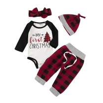 Newborn Baby Boy Girl Christmas Outfits My First Christmas Long Sleeve Romper Bodysuit Plaid Pants Clothes Set