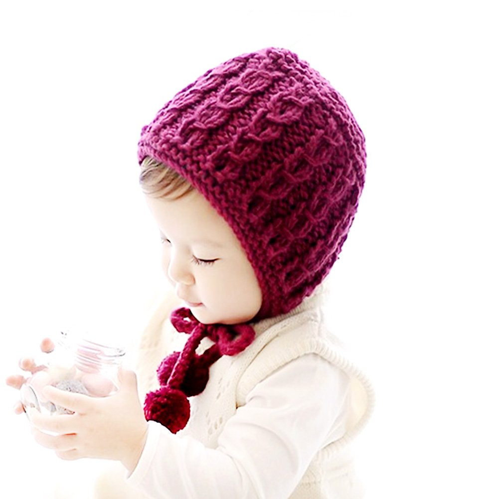 IMLECK Baby Infant Pure Color Hand-Knit Hat