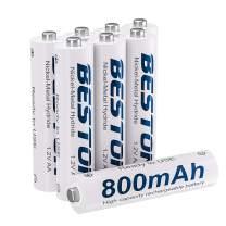 Rechargeable AAA Batteries, Beston NiMH Triple A Batteries 800mAh (8Pack)