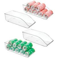 """mDesign Large Plastic Pop/Soda Can Dispenser Storage Organizer Bin for Kitchen Pantry, Countertops, Cabinets, Refrigerator - BPA Free, Food Safe - 13.5"""" Long, 4 Pack - Clear"""