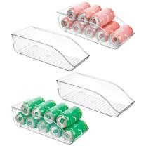 "mDesign Large Plastic Pop/Soda Can Dispenser Storage Organizer Bin for Kitchen Pantry, Countertops, Cabinets, Refrigerator - BPA Free, Food Safe - 13.5"" Long, 4 Pack - Clear"