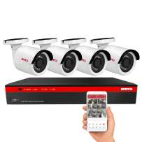 BTG 8CH 5MP 4 Cameras PoE Security Camera System 4K NVR Built-in PoE with Outdoor 5MP Surveillance IP PoE 4 Bullet Cameras HD 2592 x 1944 IR CCTV System H265 (No HDD)