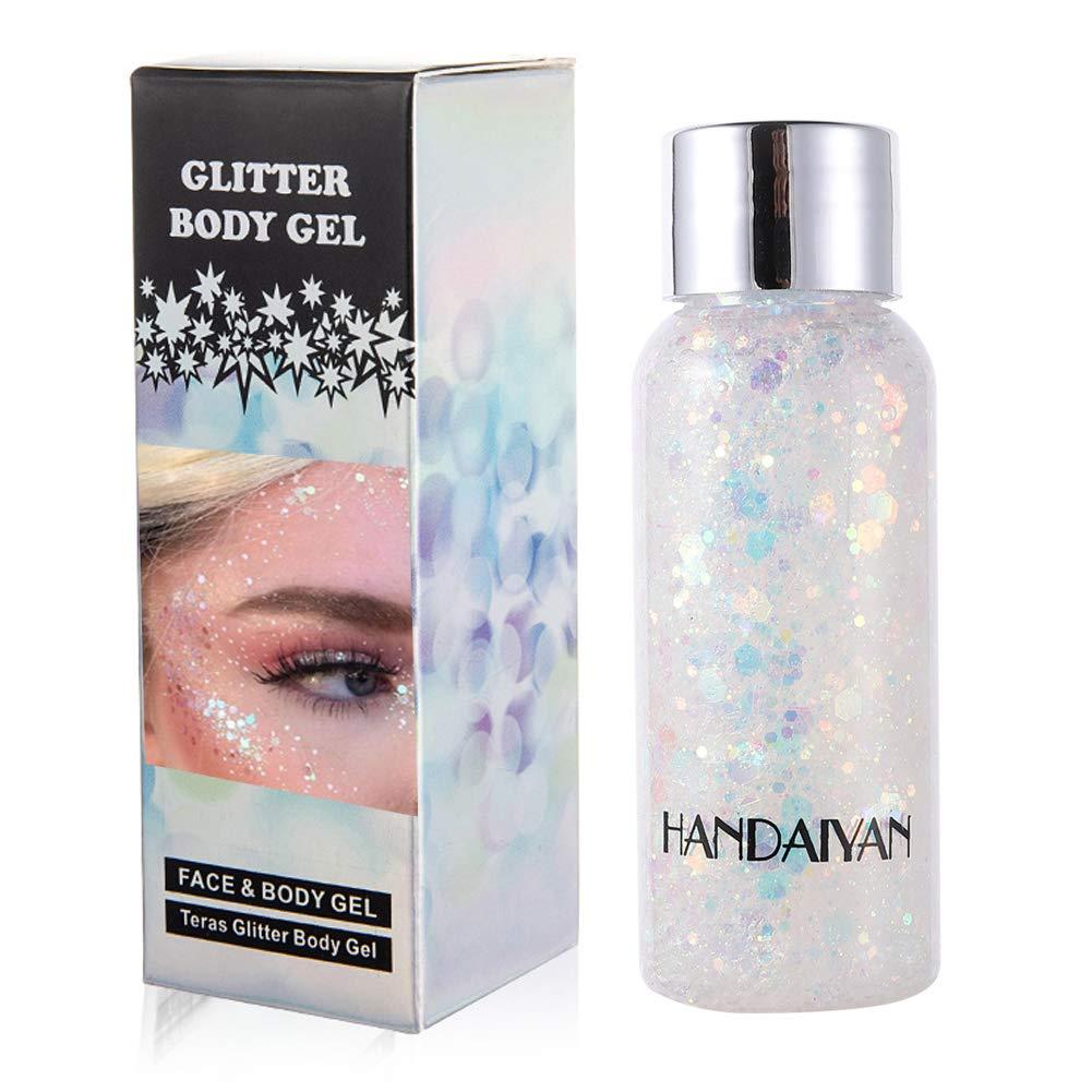 GL-Turelifes Mermaid Sequins Chunky Glitter Liquid Eyeshadow Glitter Body Gel Festival Glitter Cosmetic Face Hair Nails Makeup Long Lasting Sparkling 30g (09# White)