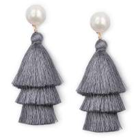 JSLOVE Tassel Earrings- Tiered Thread Bohemian Layered Fringe Statement Earrings Drop Dangle Rattan Earrings with Pearl Stud Gifts for Women Girls St. Patrick's Day Fashion Multicolor