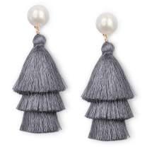 JSLOVE Tassel Earrings- Tiered Thread Bohemian Layered Fringe Statement Earrings Drop Dangle Rattan Earrings with Pearl Stud Gifts for Women Girls St. Patrick's Day Fashion Multicolor