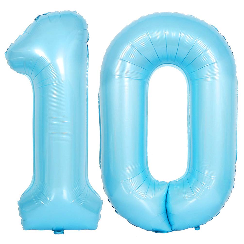 KEYYOOMY 40 in Big Number 10 Mylar Balloons (Number 10, 40 in, Baby Blue Color)