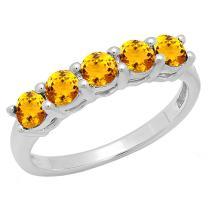 Dazzlingrock Collection 14K Ladies 5 Stone Bridal Wedding Anniversary Ring, White Gold